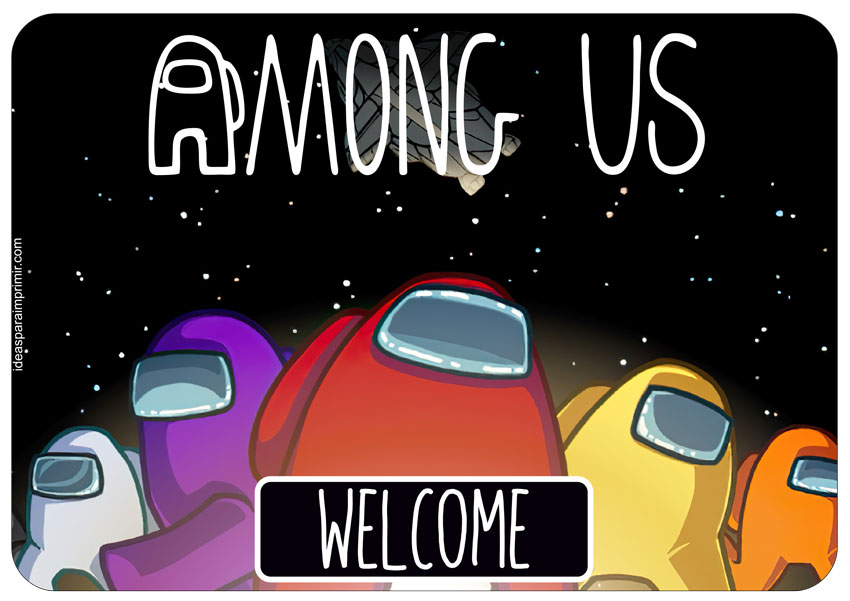 Among Us Welcome Sign Poster