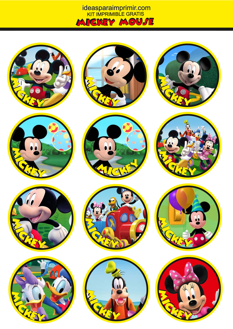 Toppers, stikers, círculos Mickey Mouse